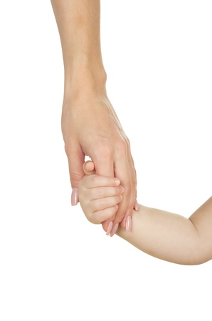 Baby hand holding mother hand photo