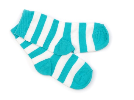 socks child: Pair of childs striped socks isolated on a white Stock Photo