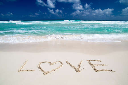 beach and love in sand photo