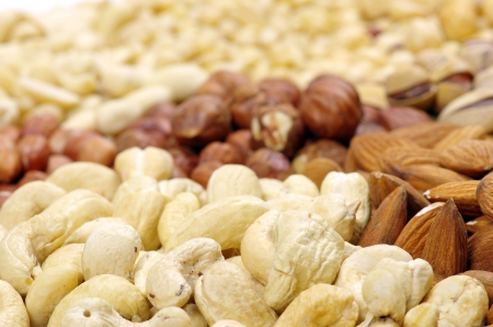 mixed nuts on a background photo