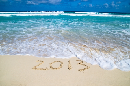 2013 on beach - concept holiday background Stock Photo - 18465490