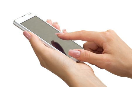 Hand holding mobile smart phone with blank screen Standard-Bild