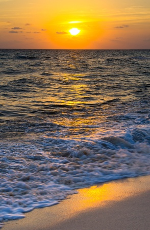 Beautiful sunset above the sea photo