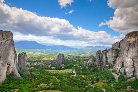 Monastery on top of rock in Meteora, Greece photo