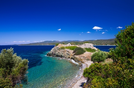 Beautiful greek beach panorama.Halkidiki photo