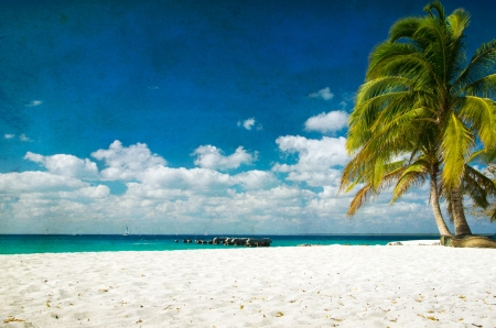 peaceful: grunge image of tropical beach