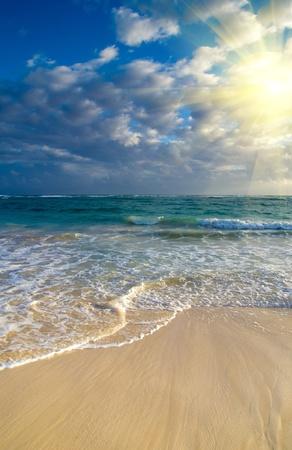 Beautiful sunset above the sea photo