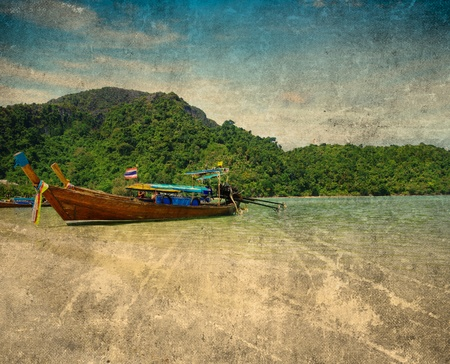 grunge image of tropical beach photo