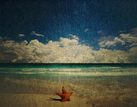 grunge image of tropical beach photo