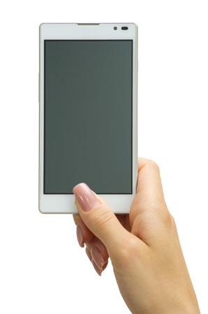 Hand houden van grote touchscreen smartphone