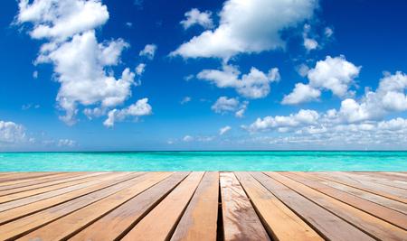 beach sunset:  tropical sea under the blue sky Stock Photo