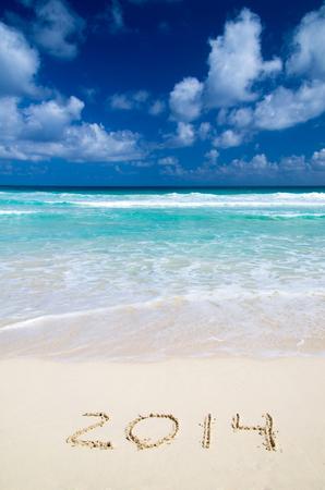2014 year on the sand beach near the ocean photo