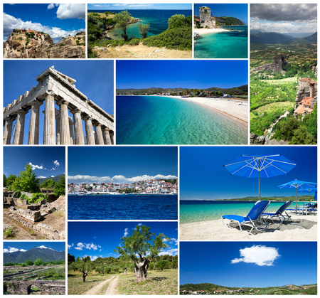 ancient greece: Collage of Greece travel images
