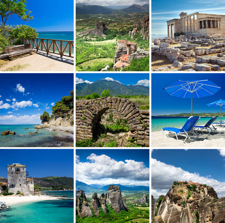 village house: Collage of Greece travel images