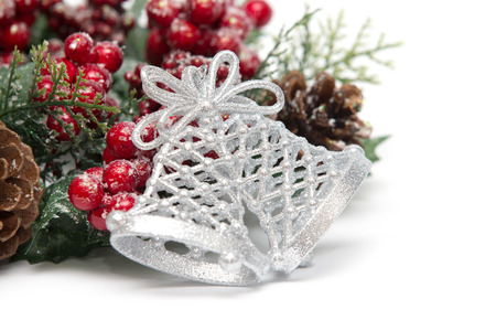 Christmas decorations isolated on white  photo