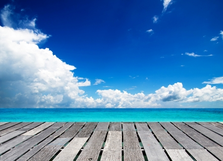 mar: hermosa playa y el mar tropical Foto de archivo