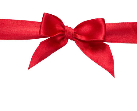 red ribbon with bow with tails isolated on white  photo