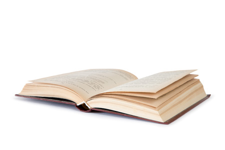old book cover: Open book isolated on white background