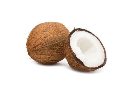 coconut cut in half on white background photo