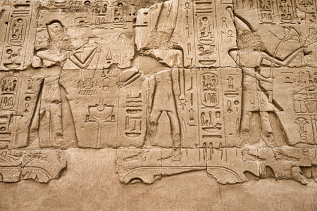 Hieroglyphic of pharaoh civilization in Karnak temple, Egypt photo