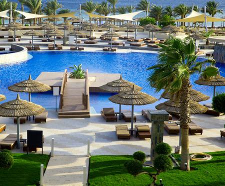 med: Beautiful swimming pool in Egipt Editorial