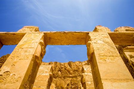columns covered in hieroglyphics, Karnak, Egypt. photo