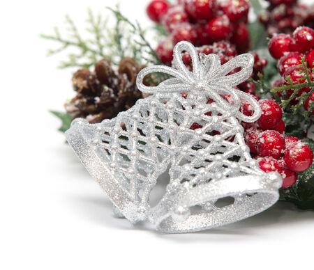 Christmas decorations isolated on white photo