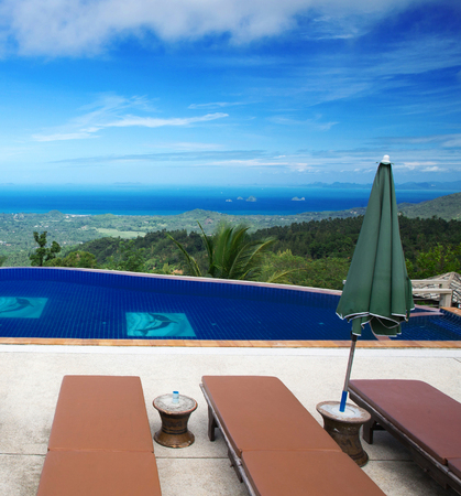 med: tropical swimming pool with coconut tree