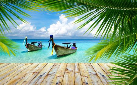 on shore: beautiful beach and tropical sea Stock Photo