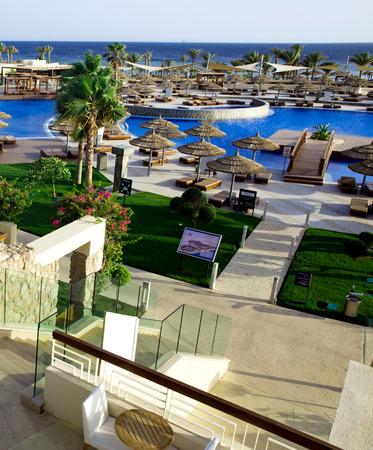 med: Beautiful swimming pool in Egipt Stock Photo