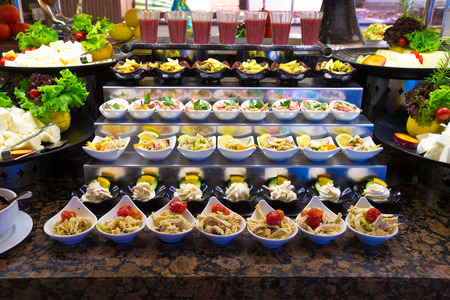 buffet: tray of assorted food for salad buffet