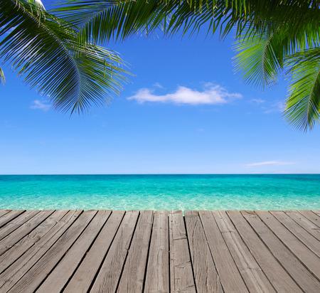 beautiful beach and tropical sea 스톡 콘텐츠