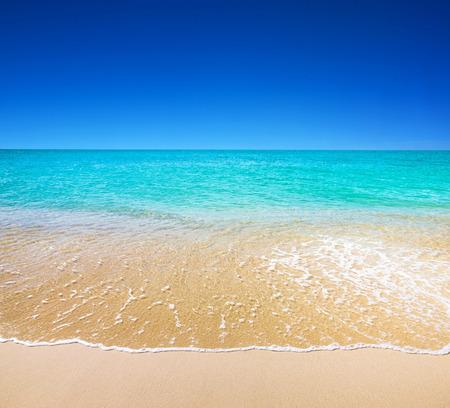 ciel avec nuages: belle plage et mer tropicale