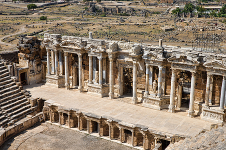 hierapolis: Ruins of theater in ancient Hierapolis, Turkey
