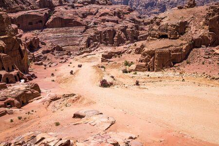 petra  jordan: Beautiful red rock formations in Petra Jordan. Stock Photo