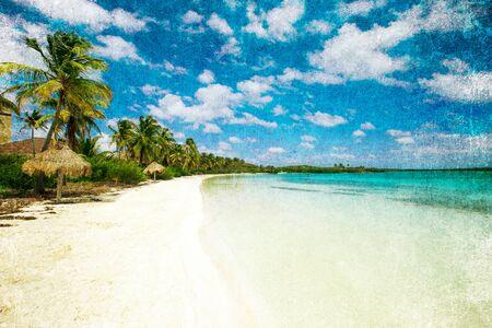 grunge image: grunge image of tropical beach