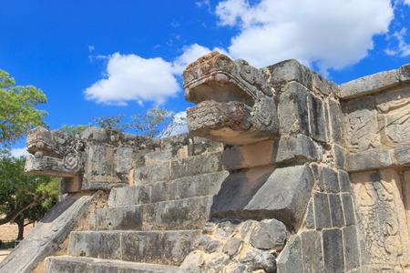 civilization: Ancient Mayan civilization historical ruins. Kukulcan Temple at Chichen Itza, Yucatan, Mexico.