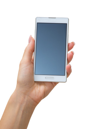 cellphone: Hand holding big touchscreen smart phone