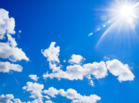 weather front: blue sky background with tiny clouds Stock Photo