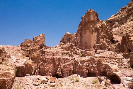 petra  jordan: Beautiful red rock formations in Petra Jordan Stock Photo
