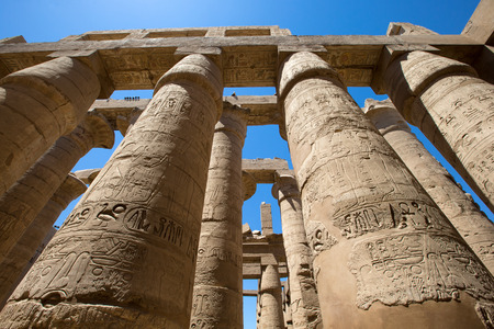 cultural artifacts: Close up of columns covered in hieroglyphics, Karnak, Egypt.