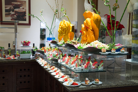salad buffet: tray of assorted food for salad buffet