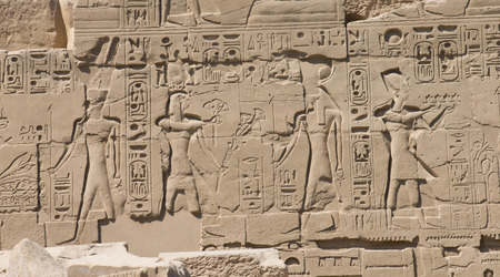 past civilization: old egypt hieroglyphs carved on the stone
