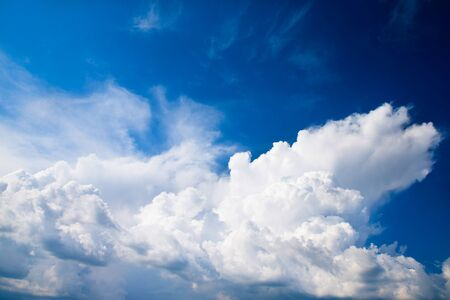 white clouds: blue sky background with tiny clouds Stock Photo