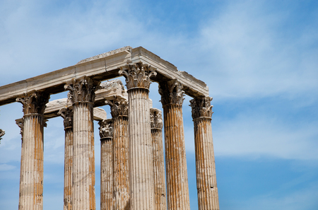 economic revival: Temple of the Olympian Zeus and the Acropolis in Athens, Greece
