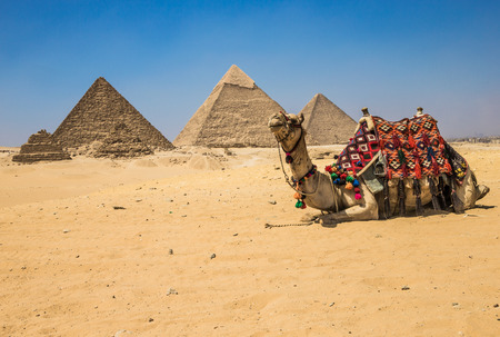 pyramid: pyramids with a beautiful sky of Giza in Cairo, Egypt.