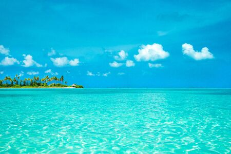 blue lagoon: tropical beach in Maldives with few palm trees and blue lagoon Stock Photo