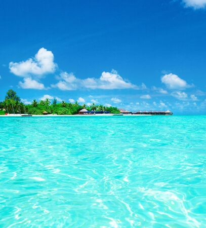 blue lagoon: tropical beach in Maldives with few palm trees and blue lagoon Editorial