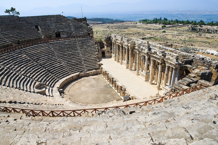 unesco world cultural heritage: Amphitheater in Pamukkale, Turkey