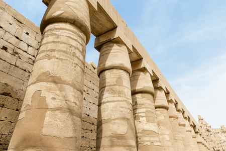 cultural artifacts: columns covered in hieroglyphics, Karnak, Egypt.